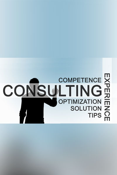 image of a man with text: consulting, competence, experience