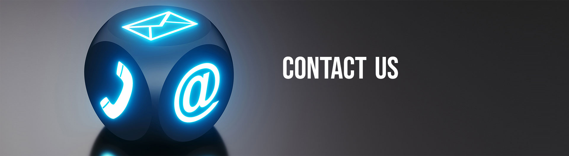 contact us banner with blue dice